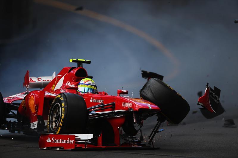 Монте-Карло, Монако, 25 мая. Бразильский гонщик Фелипе Масса серьёзно разбил машину во время утренней тренировки перед квалификацией на Гран-при Монако. Фото: Bryn Lennon/Getty Images
