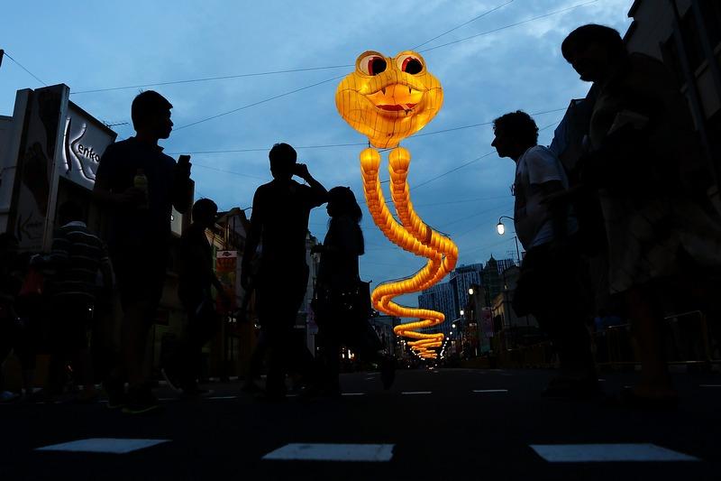 Сингапур, 9 февраля. Наступает год змеи по восточному календарю. Фигура змеи, составленная из 850 фонариков, приветствует горожан по пути в «чайнатаун». Фото: Suhaimi Abdullah/Getty Images
