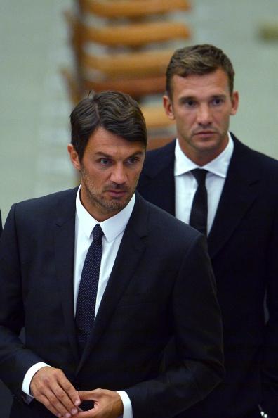 Андрей Шевченко (справа) и Паоло Мальдини, Ватикан, 1 сентября 2014 г. Фото: VINCENZO PINTO/AFP/Getty Images