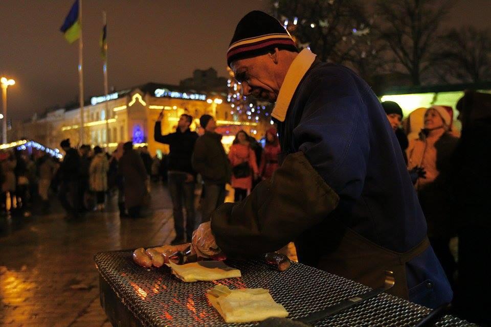 Захід біля головної новорічної ялинки України, Київ, Софійська площа, 2015. Фото: EpochTimes.com.ua