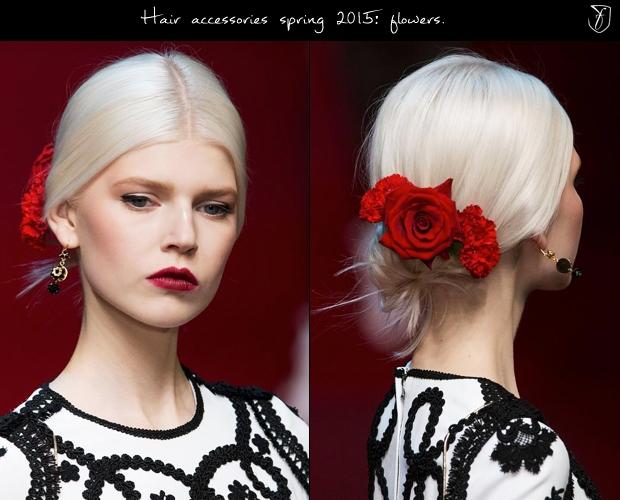 Романтические заколки с розами и гвоздиками от Dolce & Gabbana. Фото: fashionising.com