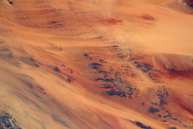 Африканский пейзаж, напоминающий поверхность Марса. Фото: Tim Peake/ESA/NASA
