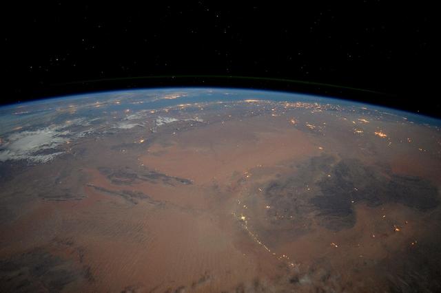 Нічна Сахара. Фото: Tim Peake/ESA/NASA