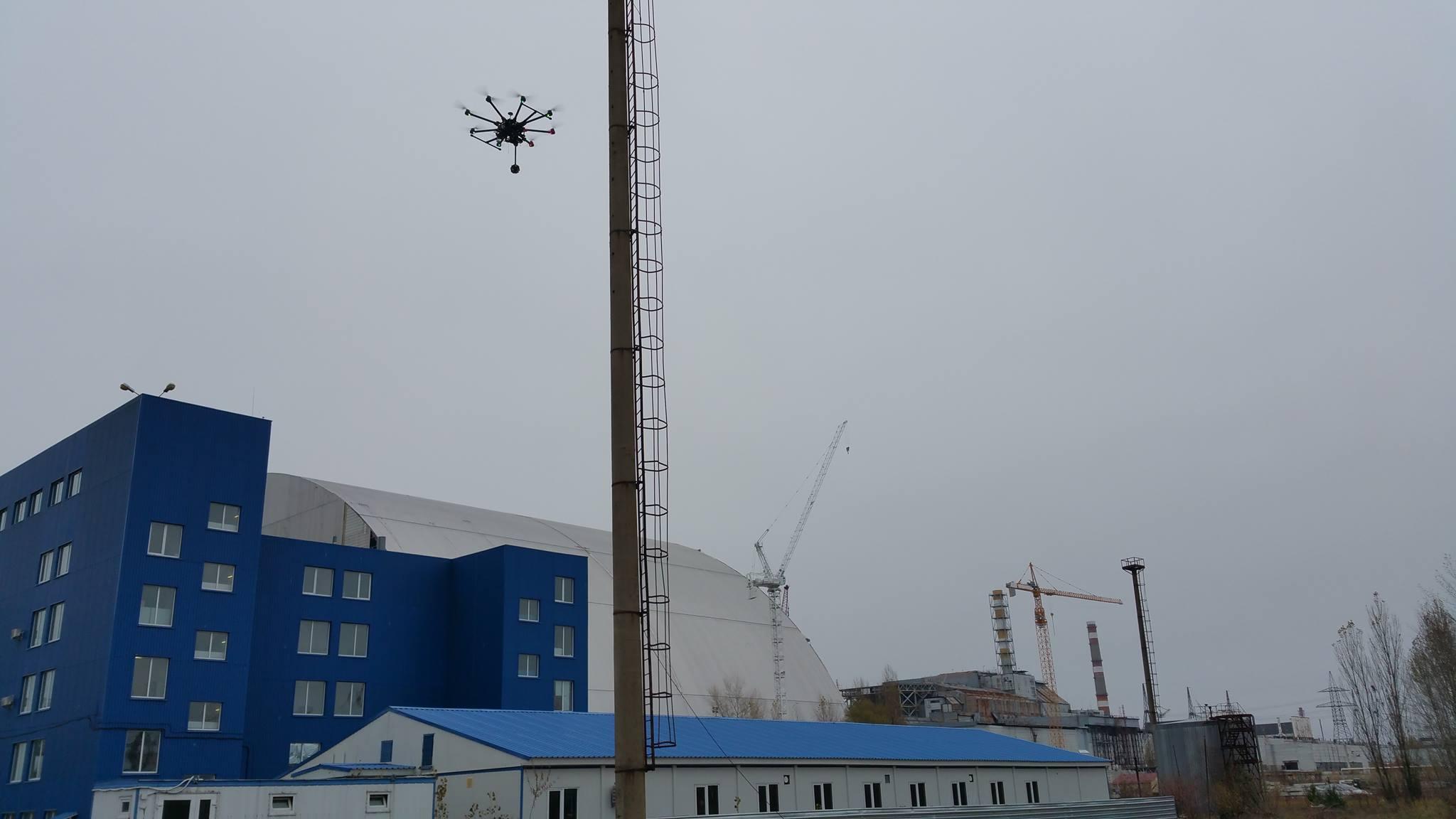 Полёт дрона вблизи АЭС. Фото: facebook.com/chernobyl360VR