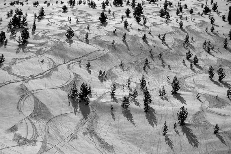 П'ятнадцяте місце: Лінії від лиж на засніженому схилі гори Баба нижче піку Пелістер, Національний парк Пелістер, Македонія. Фото: Ptahhotep/wikilovesearth.org.ua. Вільна ліцензія CC BY-SA 4.0