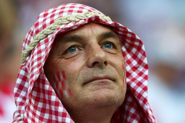 Хорватський шанувальник футболу в оригінальному головному уборі на матчі Хорватія проти Іспанії 18червня 2012року у Гданську. Фото: Alex Grimm/Getty Images