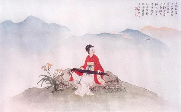 После того, как Цай Вэньцзи возвратилась в Китай, она часто вспоминала о своих детях, оставленных у гуннов, и облегчала свою душевную боль музыкой, играя на цитре. Рисунок: Чжан Цуйин