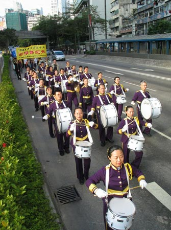 На фото группа барабанщиков участвующих в шествии. Фото: Великая Эпоха