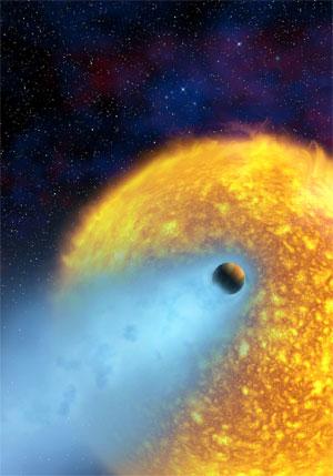 12 березня 2003 р. Явище, коли шар газу від планети, що обертається навколо зірки поза межами Сонячної системи, випаровується у космічний простір. Це зображення є уявленням художника. Зображення: ESA, Alfred Vidal-Madjar (Institut d'Astrophysique de Paris