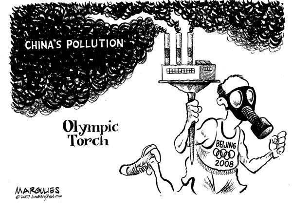 Карикатура на Олимпийские игры в Пекине, где наблюдается сильное загрязнение воздуха