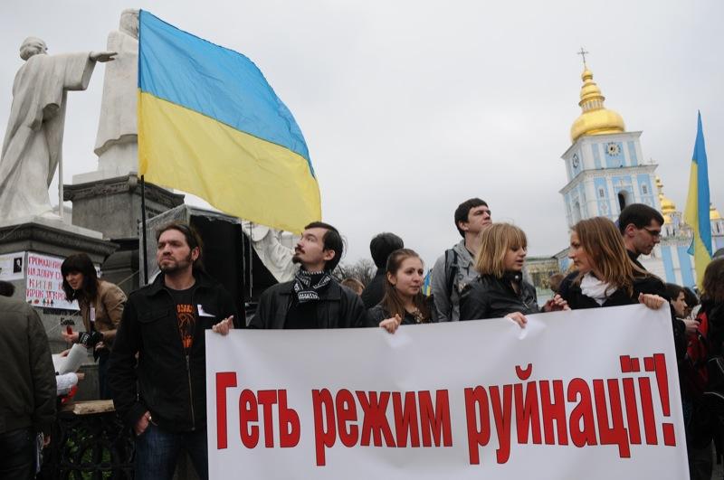 Митинг против разрушения Андреевского спуска прошёл в Киеве на Михайловской площади 21 апреля. Фото: Владимир Бородин / The Epoch Times Украина
