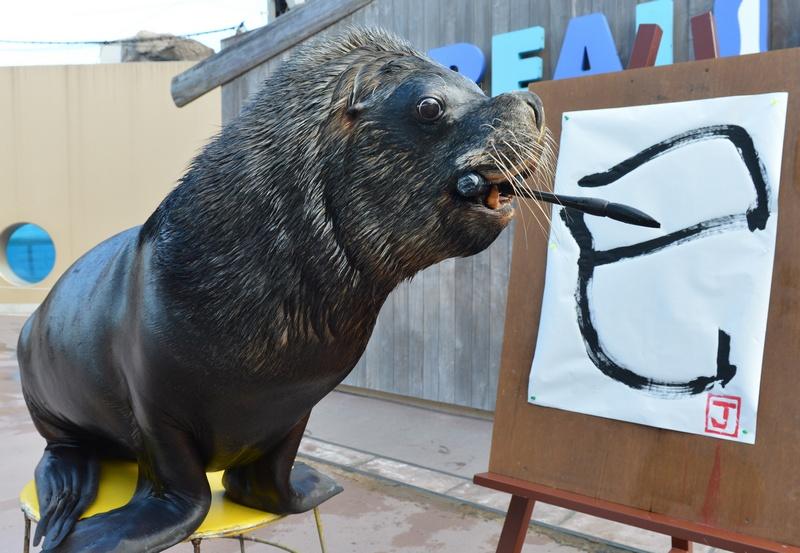 Иокогама, Япония, 3 января. Морской лев по имени Джей рисует китайский иероглиф «Змея» в честь наступающего в феврале одноимённого года по восточному календарю. Фото: KAZUHIRO NOGI/AFP/Getty Images