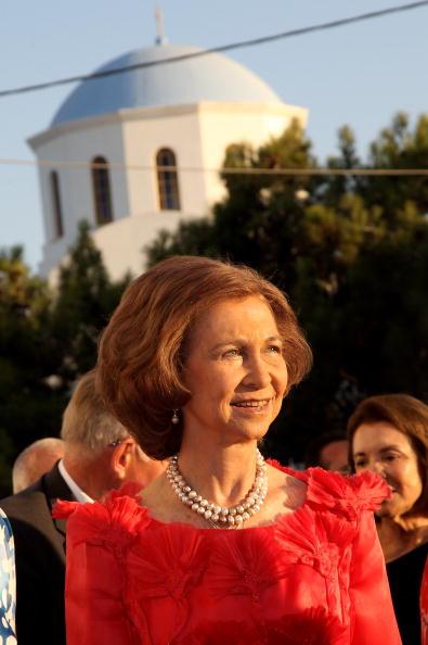Гості на весіллі принца Греції Ніколаоса і Тетяни Блатнік. Королева Іспанії Софія. Фоторепортаж. Фото: Chris Jackson / Getty Images