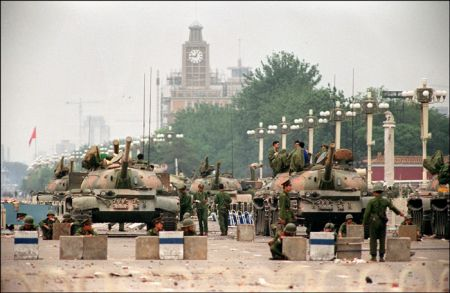 4 июня 1989 г. Танки на улицах Пекина.