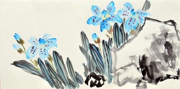 Бабочки на орхидеях. Художник Жу И