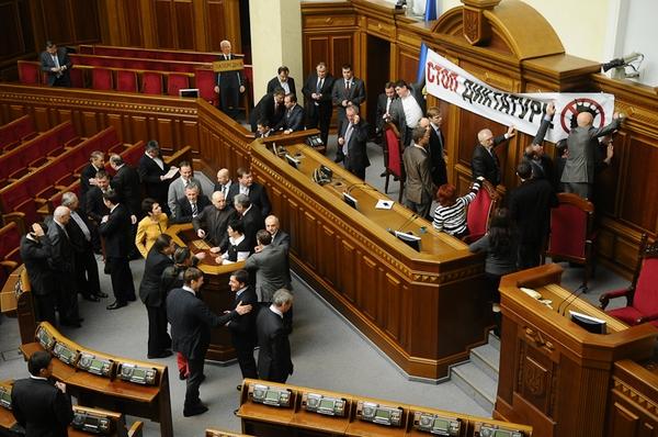 Опозиція заблокувала Раду. Фото: Володимир Бородін/Велика Епоха