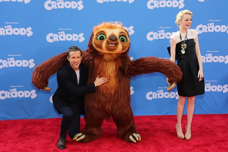 Нью-Йорк, США, 10 марта. Актёры Райан Рейнольдс и Эмма Стоун на премьере мультфильма «Семейка Крудс». Фото: Neilson Barnard/Getty Images