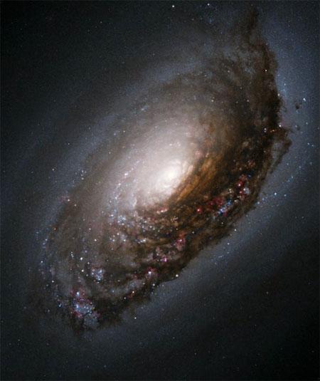 5 февраля 2004 г. Галактика «Черный глаз» (M64). Вокруг нее находится темный пояс всасываемой пыли, являющийся результатом столкновения двух галактик. Фото: NASA and The Hubble Heritage Team (AURA/STScI)