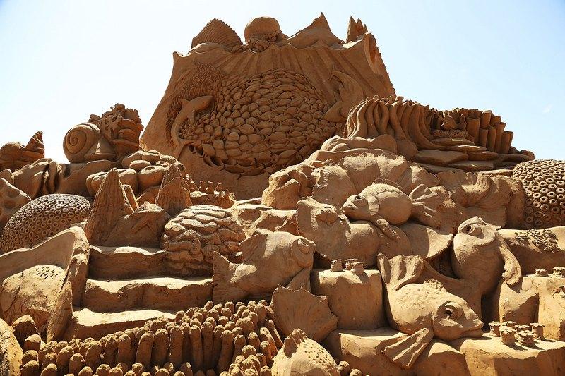 Піщана скульптура «Творці рифів». Автори Кевін Кроуфорд (Kevin Crawford) і Джим Макколі (Jim McCauley). Франкстон, Австралія. Фото: Graham Denholm/Getty Images