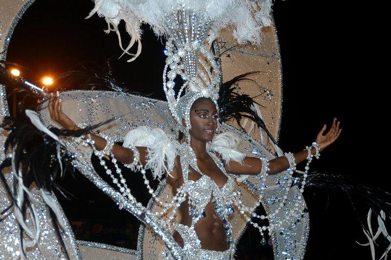 Лас-Пальмас-де-Гран-Канария, Испания, 1 февраля. Одна из участниц карнавала состязается за право именоваться Королевой карнавала. Фото: Jorge Rey/Getty Images