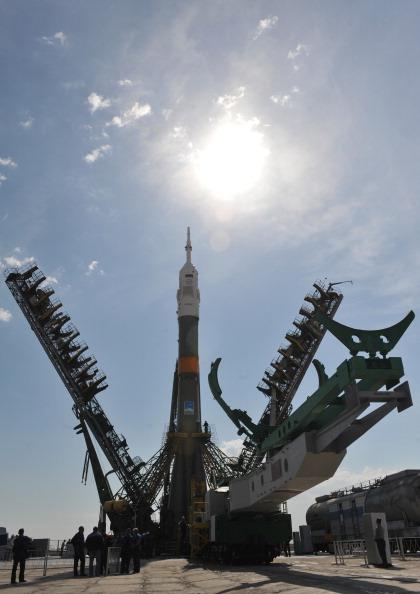 Ракета-носитель «Союз-ФГ» на стартовой площадке космодрома Байконур. Фото: VYACHESLAV OSELEDKO/AFP/Getty Images