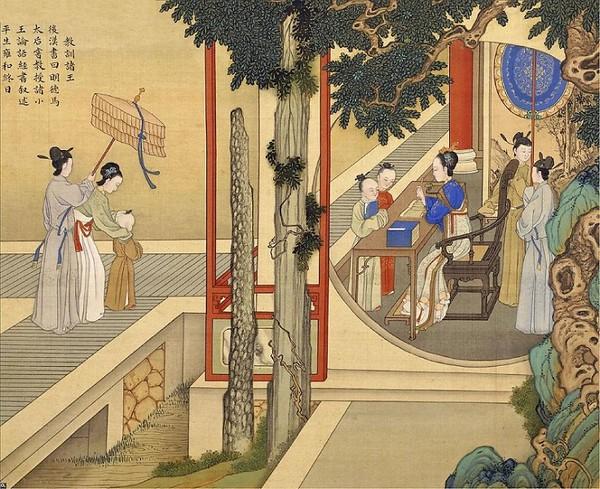 Императрица Мин Дэ Ма (династия Хань) занимается обучением детей. Художник Цяо Бинчжэнь