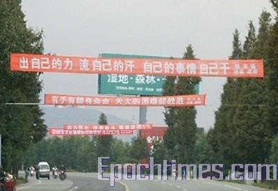 Надпись на плакате: «Приложите свои силы, свои пот и кровь, свои дела сами делайте». Фото: epochtimes.com