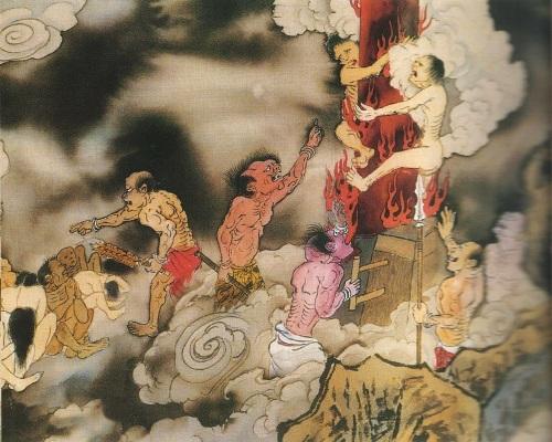 Третий уровень ада, им управляет Сун Ди Ван. Это место называется адский столб. Все те, кто при жизни часто предавался похотливым наслаждениям, покупал печатные издания или фильмы эротического характера. Фото: Цзян Ицзы
