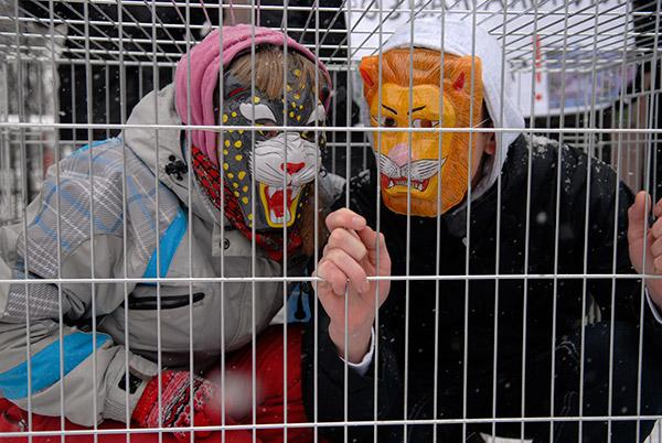 Акция «Киевский зоопарк – концлагерь для животных» прошла возле зоопарка в Киеве 20 декабря. Фото: Владимир Бородин/The Epoch Times