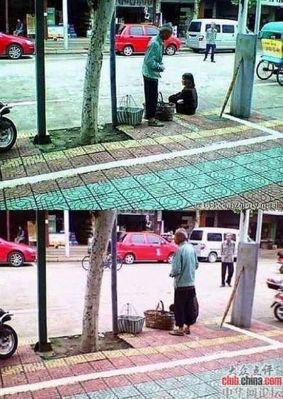 Эта пожилая пара – очень бедные крестьяне. Они живут на деньги, вырученные от продажи персиков, которые выращивают. Покупатель купил у них несколько килограмм и дал купюру 50 юаней. Фото с aboluowang.com