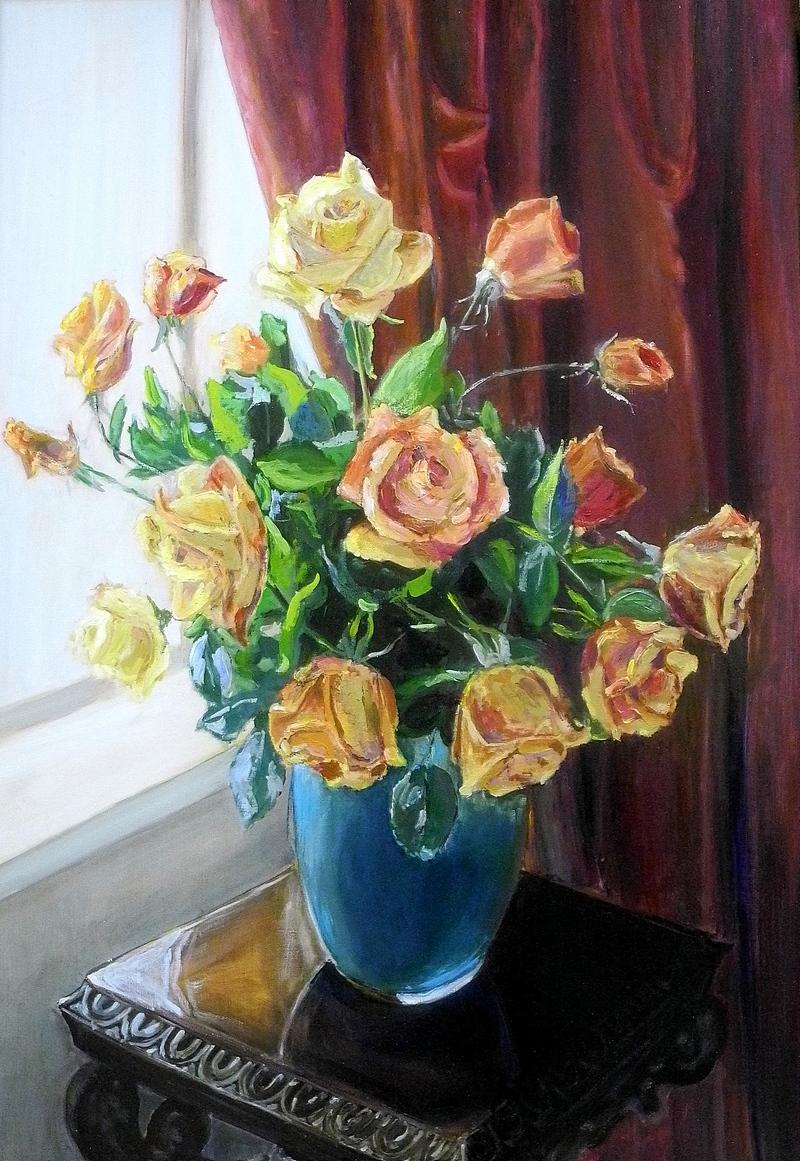 Картина олією «Троянди біля вікна», автор В.Василенко. Фото: Алла Лавриненко/The Epoch Times Україна