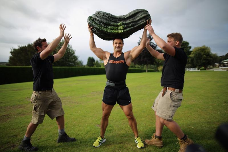 Харрогит, Англия, 14 сентября. Силач Джонатан Уолкер демонстрирует кабачок весом 54 кг на осенней выставке овощей. Фото: Christopher Furlong/Getty Images