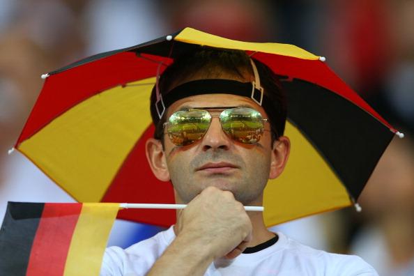 Немецкий болельщик на матче Германии и Португалии 9 июня 2012 года во Львове, Украина. Фото: Alex Ливси/Getty Images
