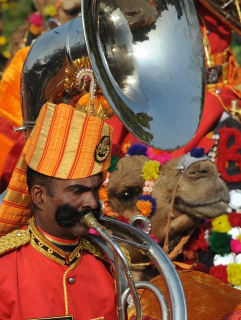 Трубач на параде в честь Дня Республики. Нью-Дели, Индия, 26 января 2012 г. Фото: RAVEENDRAN/AFP/Getty Images
