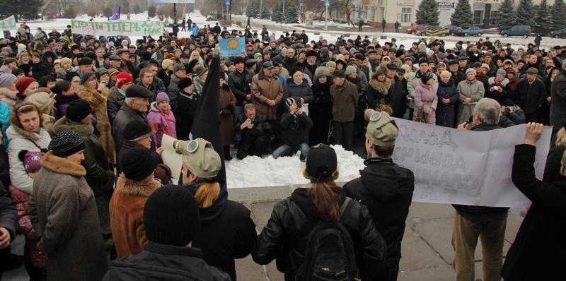 Мітинг проти видобутку сланцевого газу в Україні, Краматорськ, 10 березня 2013 р. Фото: Олег Мякушко / Велика Епоха