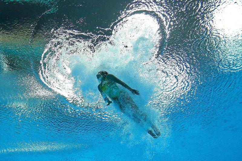 Лондон, Англія, 4 серпня. Олімпійські Ігри 2012. Христина Лоукас (США) змагається у стрибках з 3-метрового трампліна. Фото: Photo by Al Bello/Getty Images