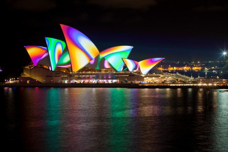 Сидней, Австралия, 25мая. Иллюминация на здании Сиднейской оперы во время фестиваля музыки и света «Яркий Сидней». Фото: Vivid Sydney via Getty Images