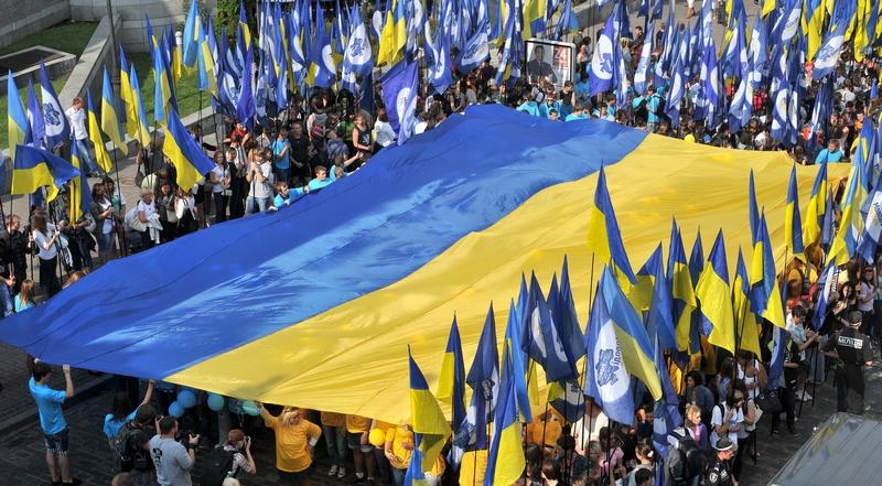 Киев, Украина. 23 августа. Украина празднует День Государственного Флага. Фото: GENYA SAVILOV/AFP/GettyImages