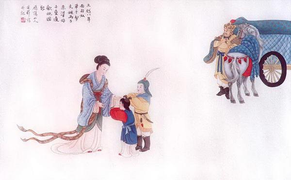 Восемь лет спустя правитель гуннов с двумя сыновьями Вэньцзи приехал в Китай. Мать радостно встречает своих детей. Рисунок: Чжан Цуйин