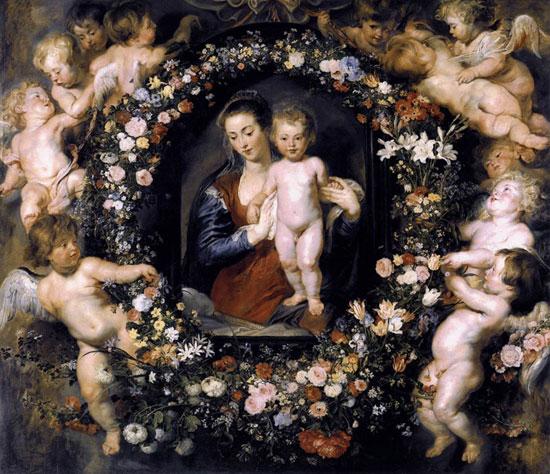 Петер Пауль Рубенс. Мадонна в венке из цветов. Старая Пинакотека, Мюнхен, Германия
