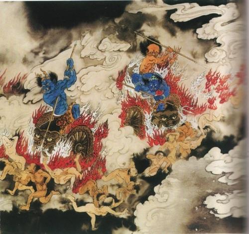 Четвёртый уровень ада, огненные колесницы. Здесь тела грешников раздавливают на кусочки горящими колесницами и превращают их в месиво из плоти и грязи. Фото: Цзян Ицзы