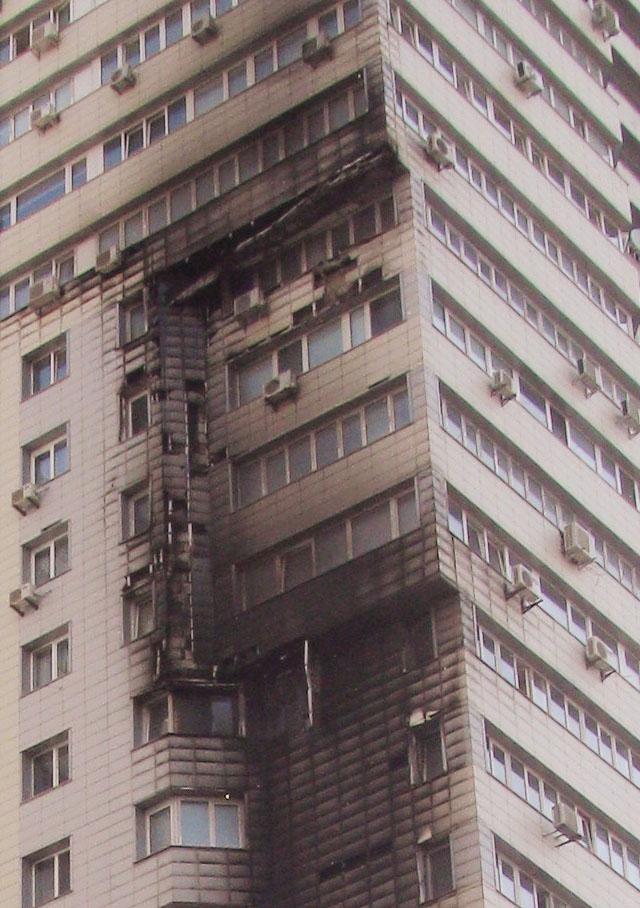У Києві горів 25-поверховий житловий будинок. Фото: Аліна Варфоломєєва/Велика Епоха