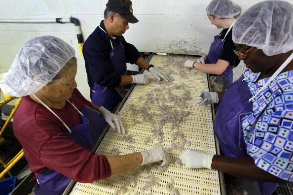 Працівники, найняті береговою охороною, зайняті обробкою морепродуктів. Фото: Joe Raedle/Getty Images