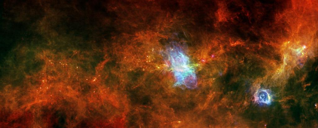 «Звёздные ясли» в созвездии Парусов. Фото: ESA/PACS & SPIRE Consortia, T. Hill, F. Motte