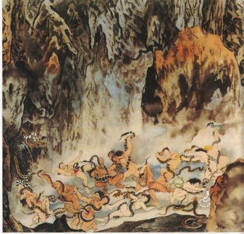 Девятый уровень ада, им управляет Пин Дэн Ван. Место с ядовитыми змеями. Это самый большой уровень ада, он называется Юеаби или Уцьен. Здесь муки, которым подвергаются грешники, ещё сильнее, чем на предыдущих уровнях. Фото: Цзян Ицзы