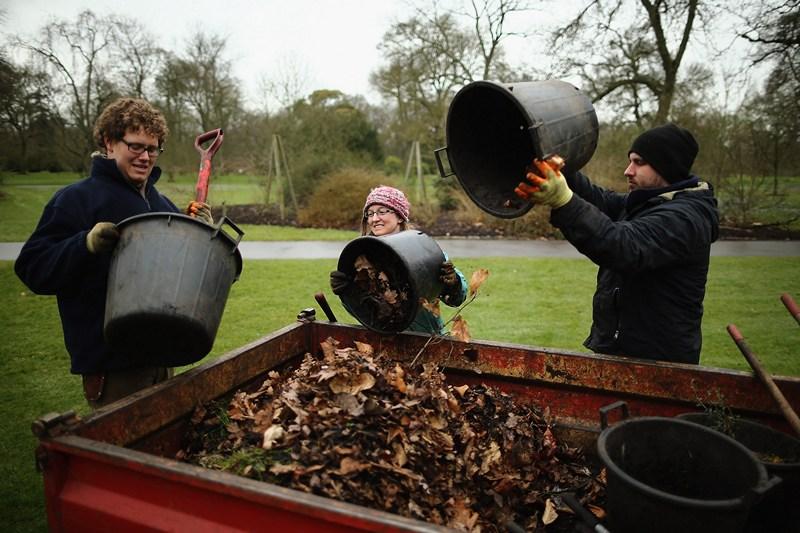 Прощай, зимо! Торішнє листя відправляється в компостну яму. Фото: Dan Kitwood/Getty Images