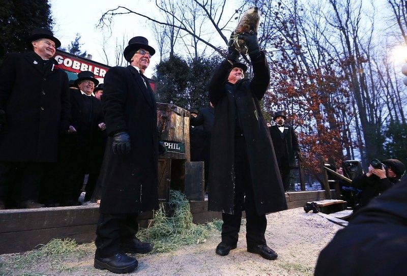 Панксатоні, США, 2 лютого. У місті відбувся 127-й День бабака. Гризун на прізвисько Філ «передбачив» настання ранньої весни. Фото: Alex Wong/Getty Images