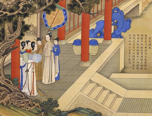 Императрица Мин Дэ Ма (династия Хань) часто одевалась в простую одежду и не носила украшений. Художник Цяо Бинчжэнь