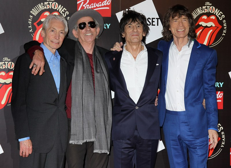 Лондон, Англия, 12 июля. Легендарная группа The Rolling Stones отмечает 50-летие концертной деятельности. Слева направо: Чарли Уоттс, Кит Ричардс, Ронни Вуд, Мик Джаггер. Фото: Chris Jackson/Getty Images