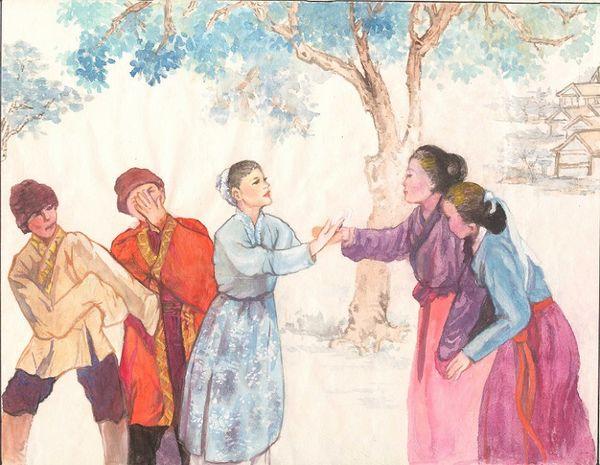 Иллюстрации к рассказу «Предание о каменном льве с красными глазами». Автор рисунков Ван Еньин